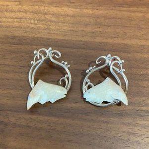 VTG 925 Silver ZEALANDIA Salmon Earrings